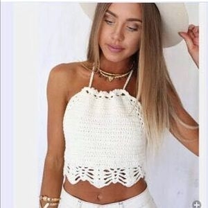 Tops - Crochet halter top New with tags